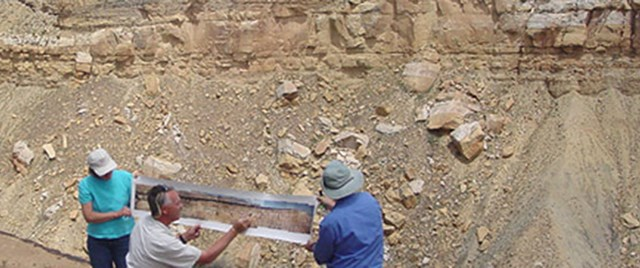 Geoscientists examining the Upper Ferron Sandstone, east-central Utah.  Photo courtesy of James Garrison