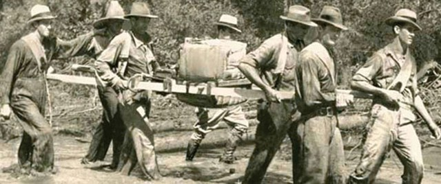 Seismic crews in the 1930s faced remote locations that meant difficult work. Photo courtesy of Chevron.